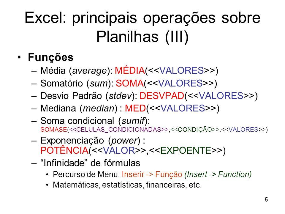Excel: principais operações sobre Planilhas (III)