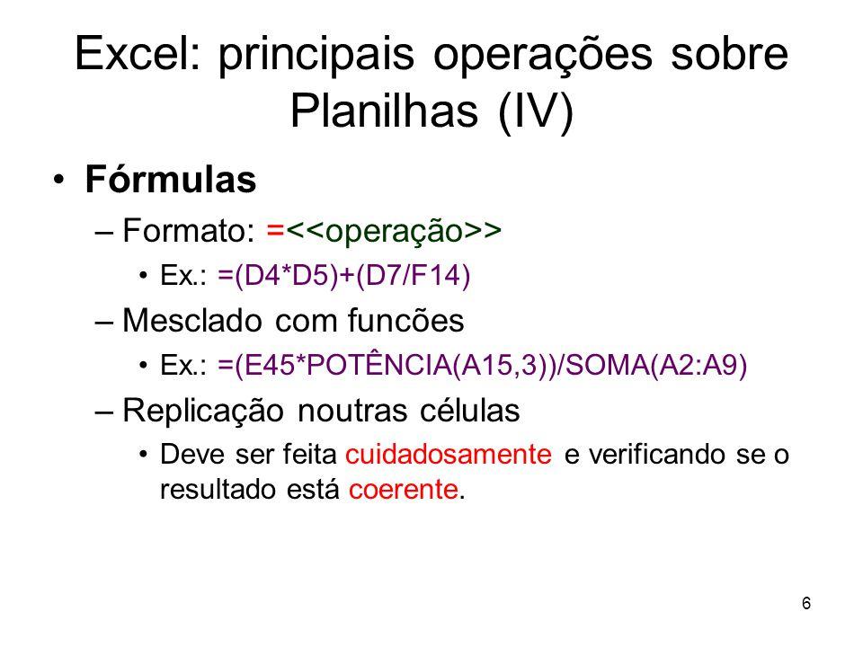 Excel: principais operações sobre Planilhas (IV)