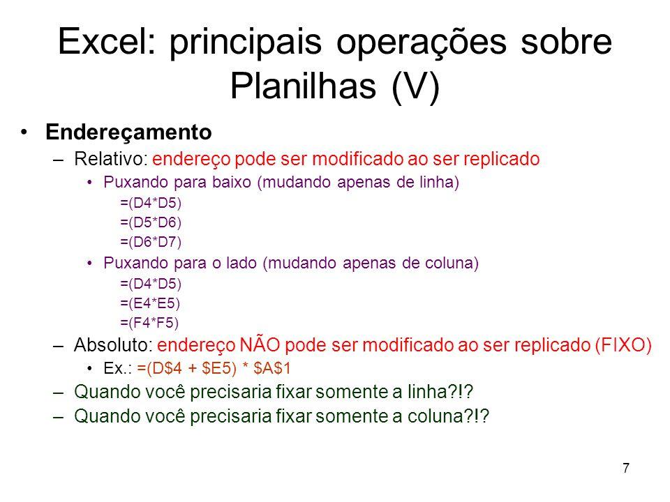 Excel: principais operações sobre Planilhas (V)