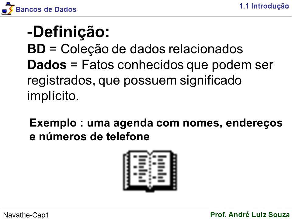 1.1 Introdução Definição: BD = Coleção de dados relacionados Dados = Fatos conhecidos que podem ser registrados, que possuem significado implícito.