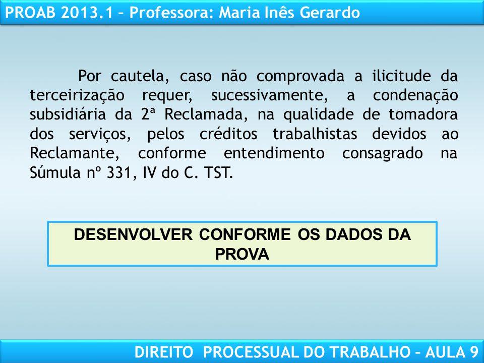 DESENVOLVER CONFORME OS DADOS DA PROVA