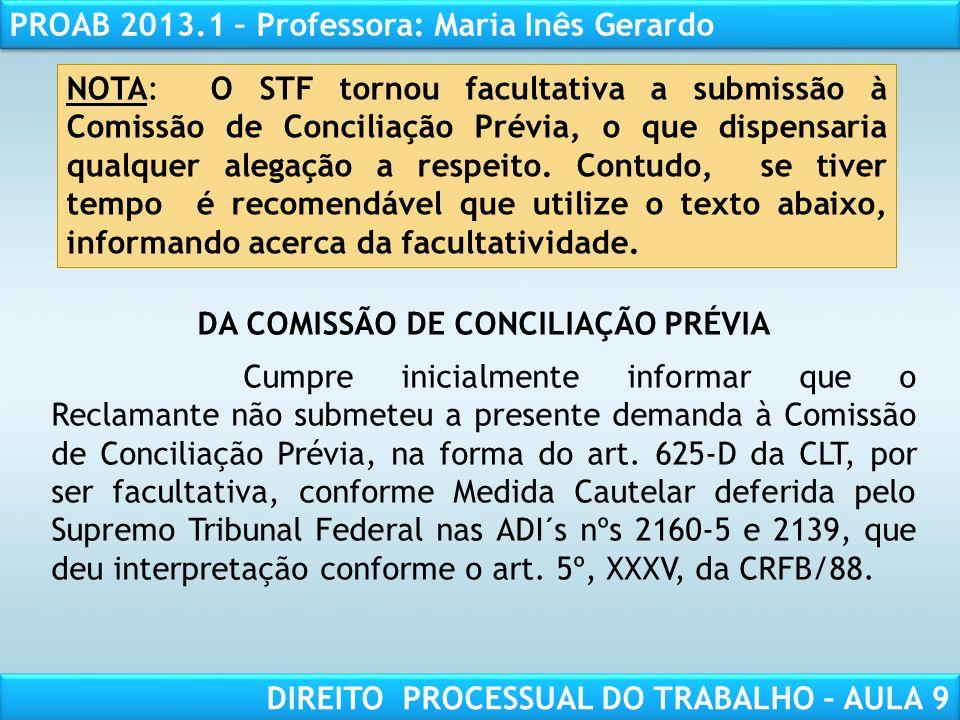 DA COMISSÃO DE CONCILIAÇÃO PRÉVIA