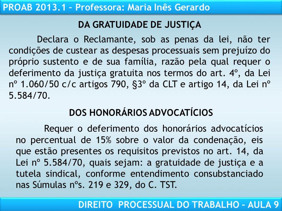 DA GRATUIDADE DE JUSTIÇA