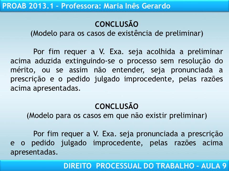 (Modelo para os casos de existência de preliminar)