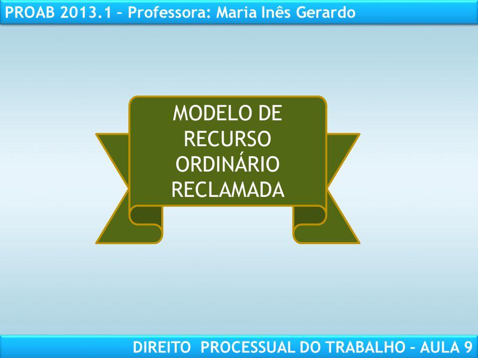 MODELO DE RECURSO ORDINÁRIO RECLAMADA