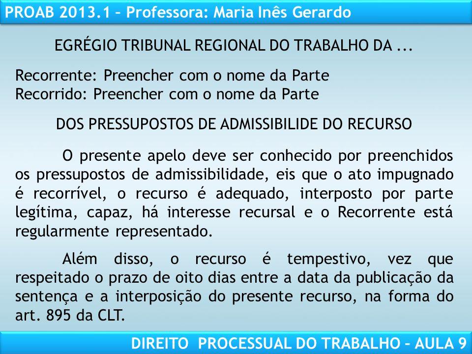 EGRÉGIO TRIBUNAL REGIONAL DO TRABALHO DA ...