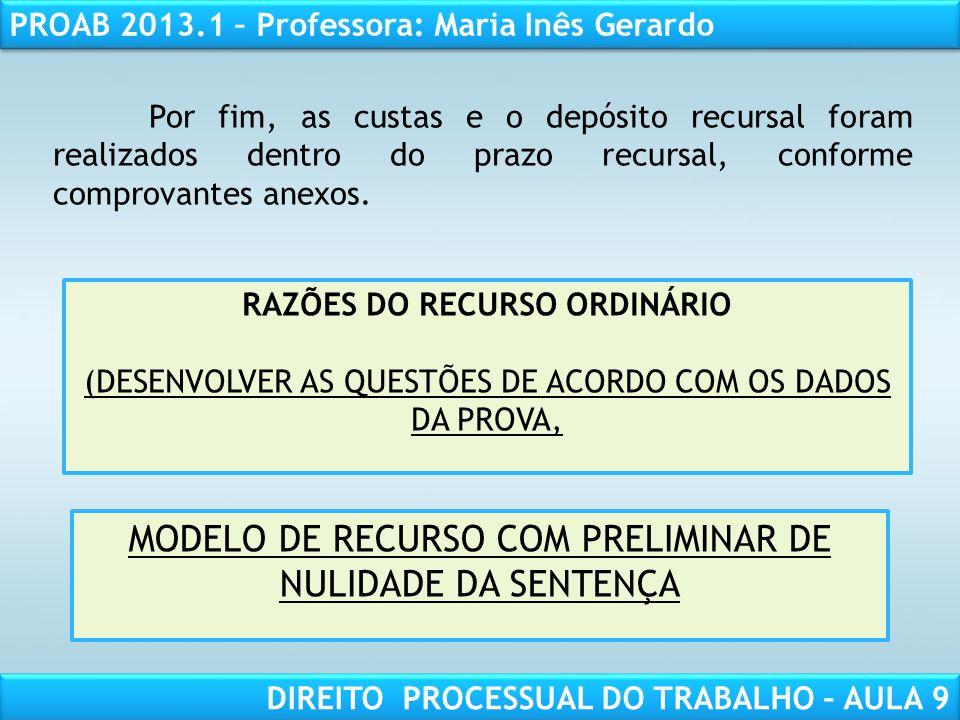 MODELO DE RECURSO COM PRELIMINAR DE NULIDADE DA SENTENÇA