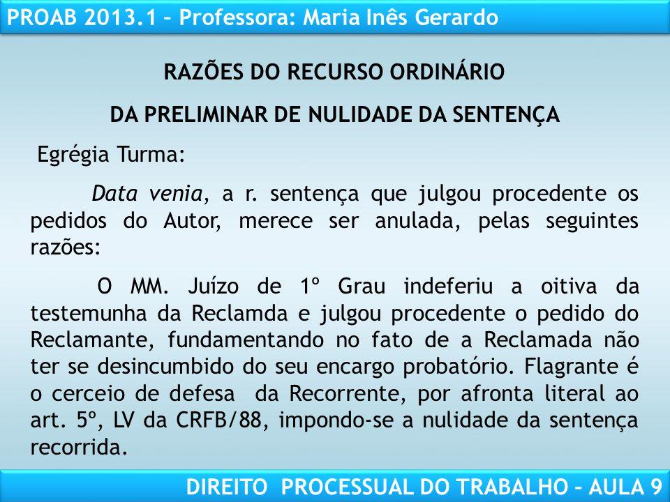 RAZÕES DO RECURSO ORDINÁRIO DA PRELIMINAR DE NULIDADE DA SENTENÇA