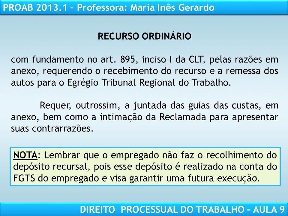 RECURSO ORDINÁRIO