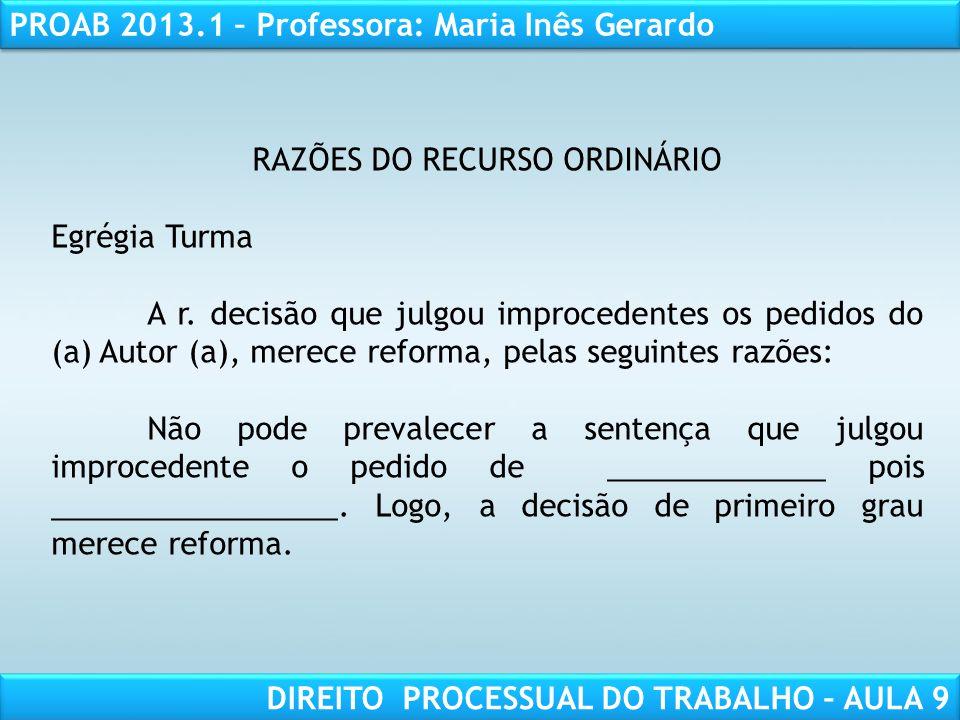 RAZÕES DO RECURSO ORDINÁRIO