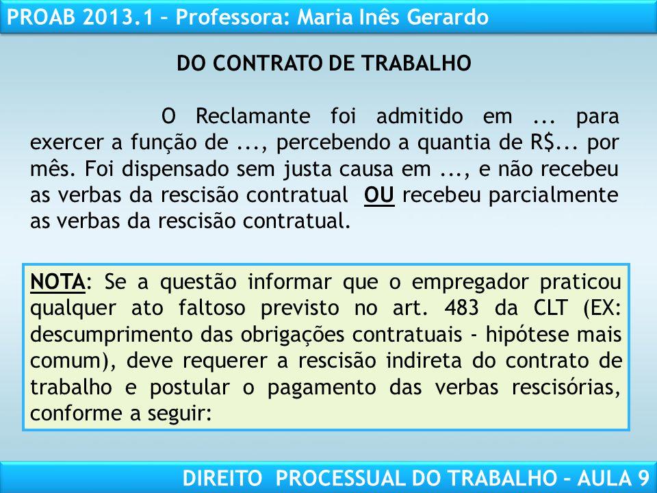 DO CONTRATO DE TRABALHO