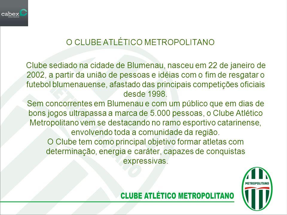 O CLUBE ATLÉTICO METROPOLITANO Clube sediado na cidade de Blumenau, nasceu em 22 de janeiro de 2002, a partir da união de pessoas e idéias com o fim de resgatar o futebol blumenauense, afastado das principais competições oficiais desde 1998.