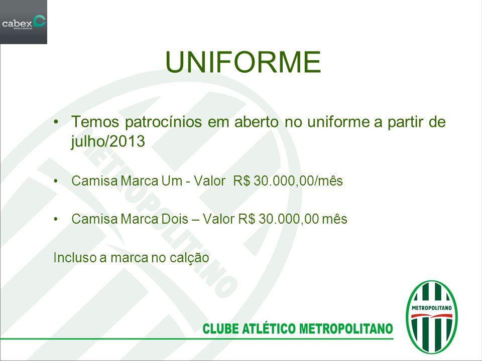 UNIFORME Temos patrocínios em aberto no uniforme a partir de julho/2013. Camisa Marca Um - Valor R$ 30.000,00/mês.