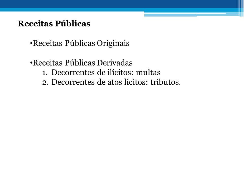 Receitas Públicas Receitas Públicas Originais. Receitas Públicas Derivadas. Decorrentes de ilícitos: multas.
