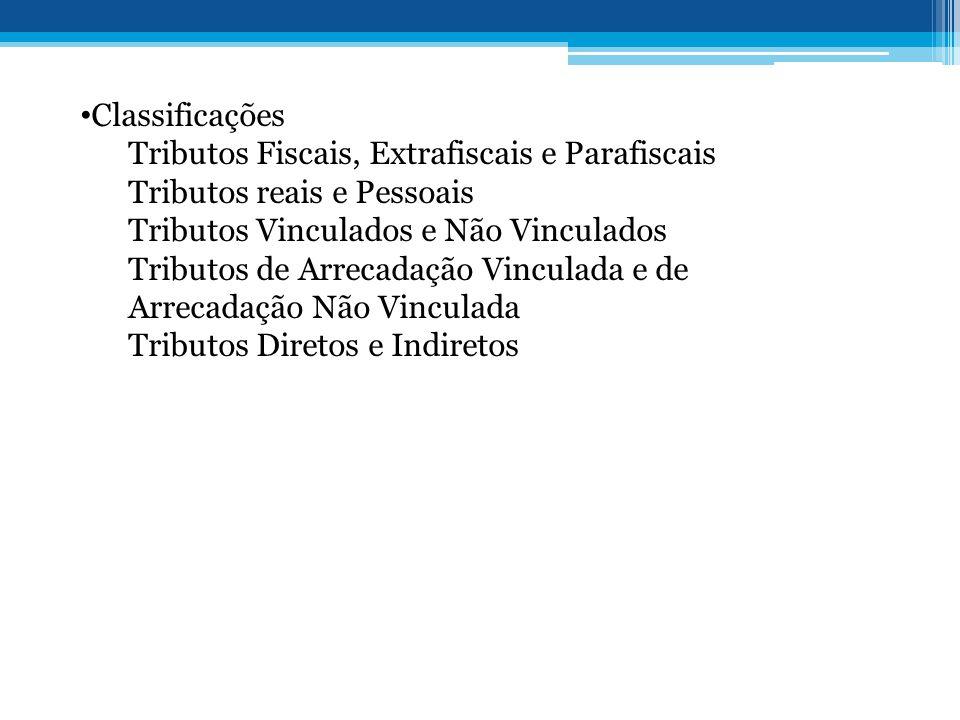 Classificações Tributos Fiscais, Extrafiscais e Parafiscais. Tributos reais e Pessoais. Tributos Vinculados e Não Vinculados.