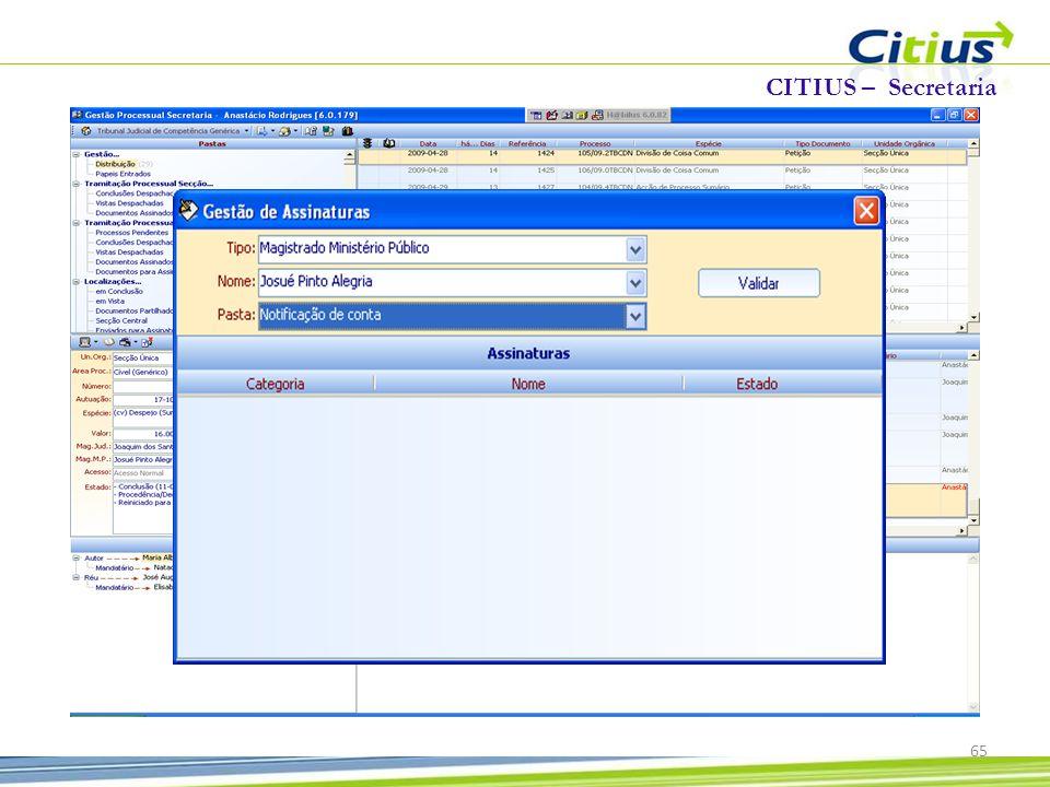 CITIUS – Secretaria