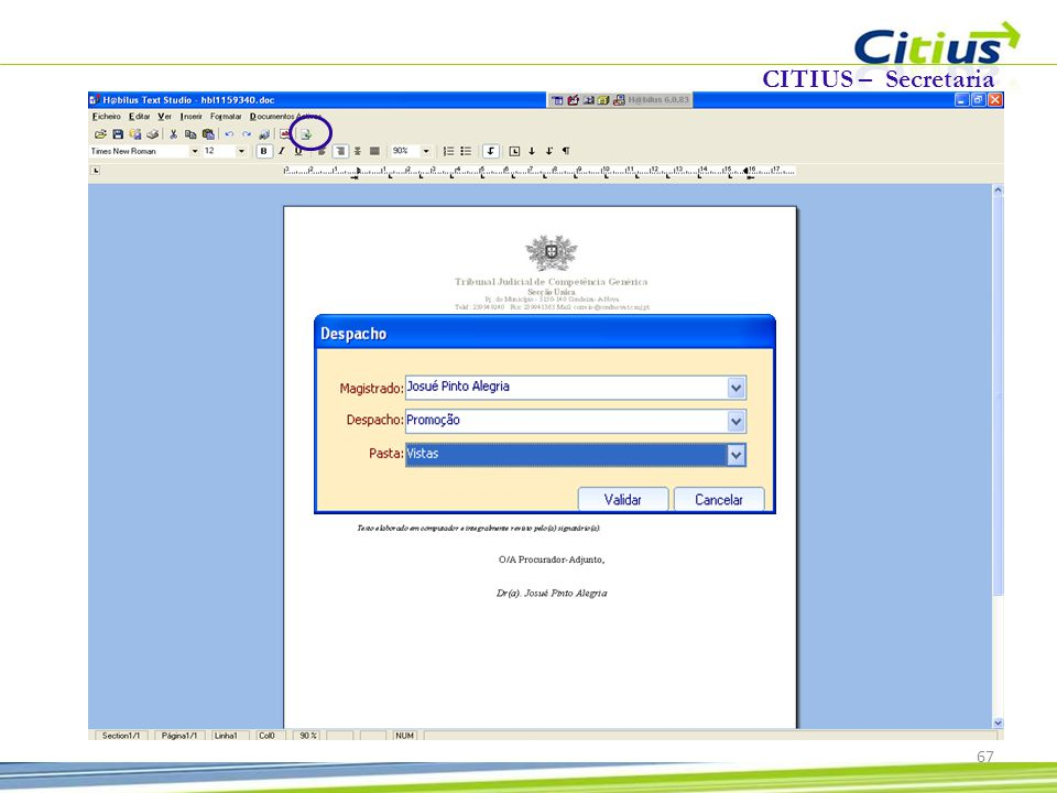 CITIUS – Secretaria