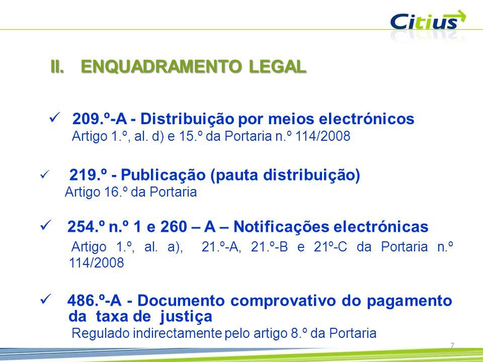 ENQUADRAMENTO LEGAL 209.º-A - Distribuição por meios electrónicos