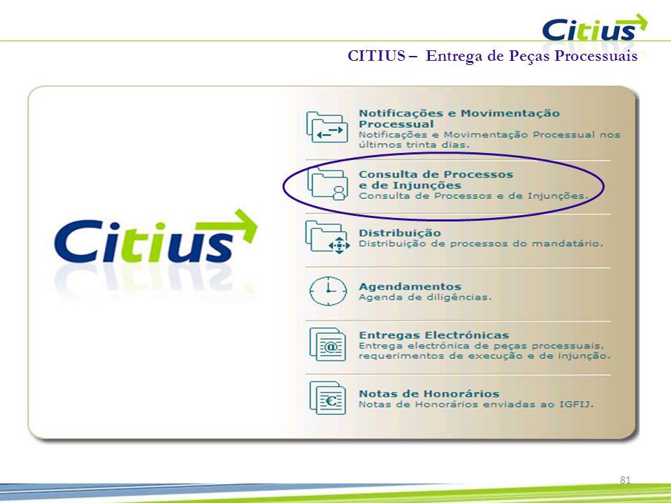 CITIUS – Entrega de Peças Processuais