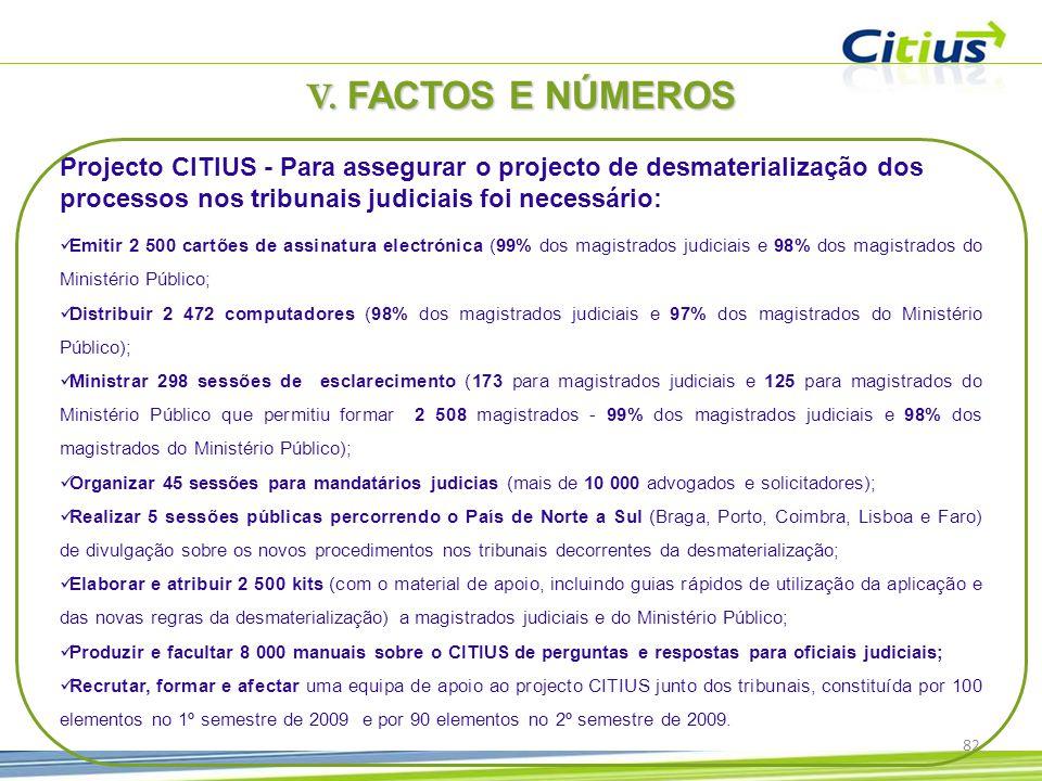 V. FACTOS E NÚMEROS Projecto CITIUS - Para assegurar o projecto de desmaterialização dos processos nos tribunais judiciais foi necessário: