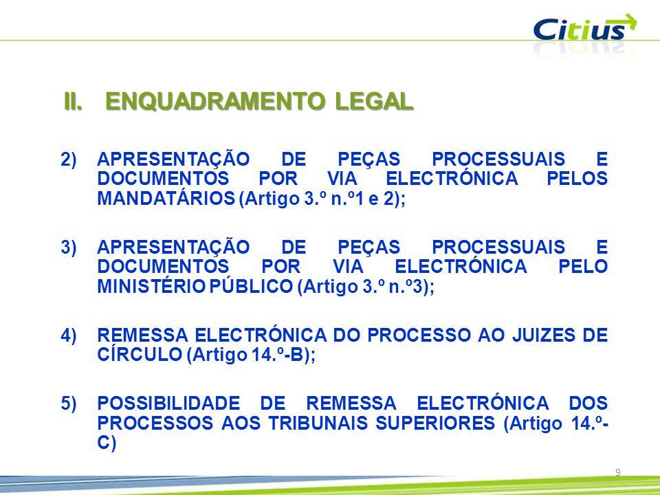 ENQUADRAMENTO LEGAL APRESENTAÇÃO DE PEÇAS PROCESSUAIS E DOCUMENTOS POR VIA ELECTRÓNICA PELOS MANDATÁRIOS (Artigo 3.º n.º1 e 2);