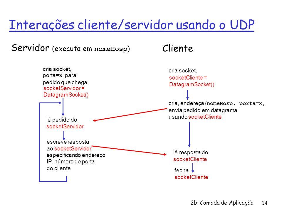 Interações cliente/servidor usando o UDP