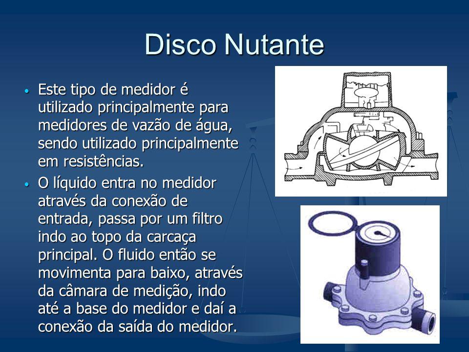 Disco Nutante Este tipo de medidor é utilizado principalmente para medidores de vazão de água, sendo utilizado principalmente em resistências.