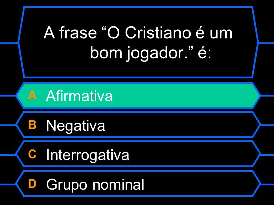 A frase O Cristiano é um bom jogador. é: