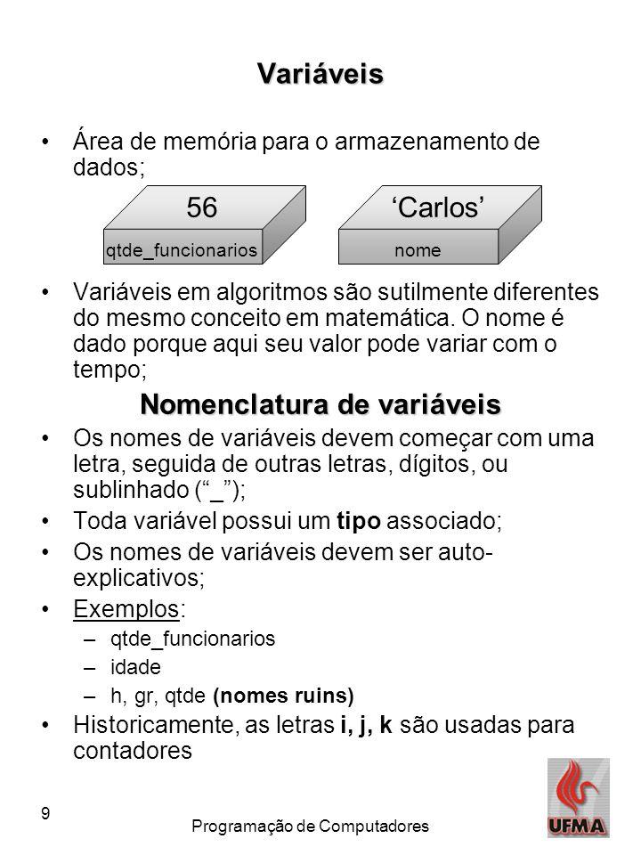 Nomenclatura de variáveis