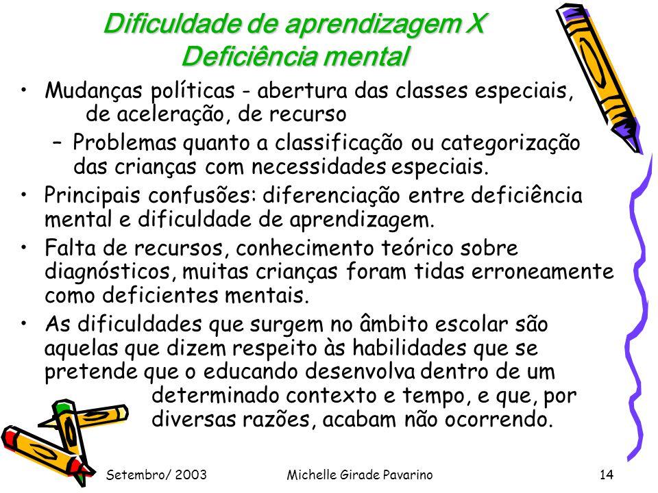 Dificuldade de aprendizagem X Deficiência mental
