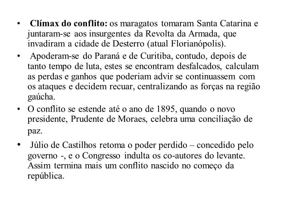 Clímax do conflito: os maragatos tomaram Santa Catarina e juntaram-se aos insurgentes da Revolta da Armada, que invadiram a cidade de Desterro (atual Florianópolis).