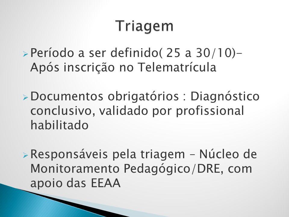 Triagem Período a ser definido( 25 a 30/10)- Após inscrição no Telematrícula.