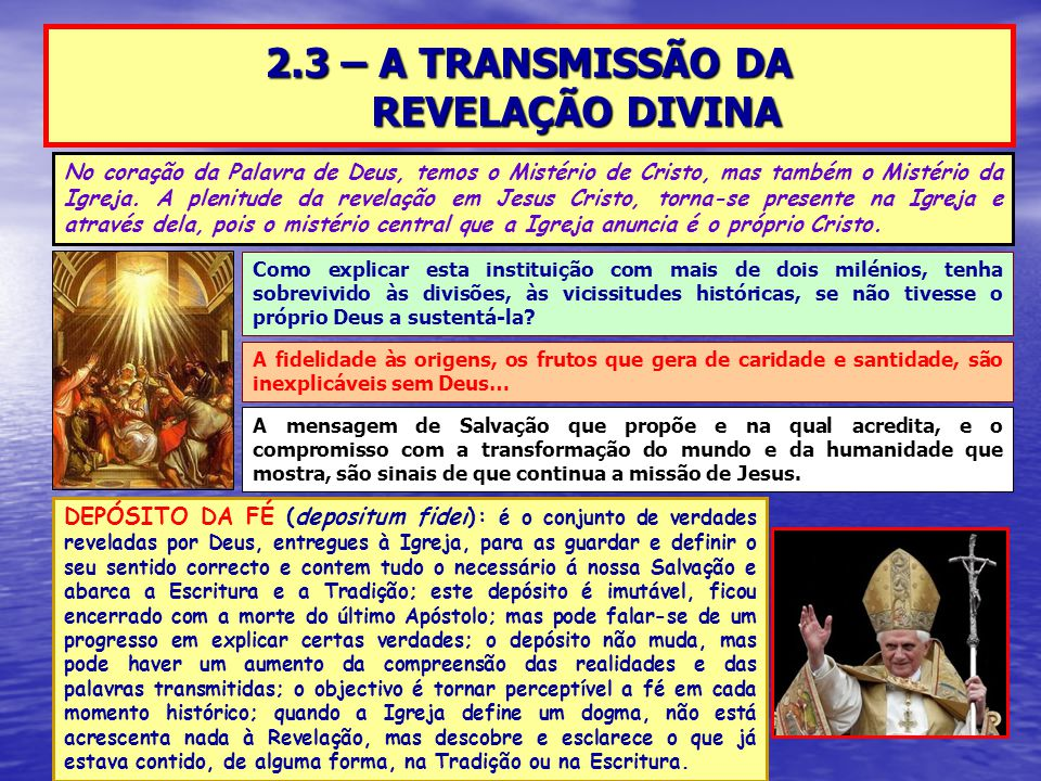 2.3 – A TRANSMISSÃO DA REVELAÇÃO DIVINA