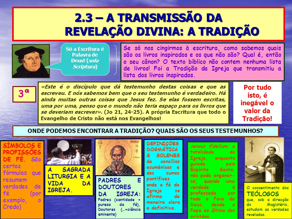 2.3 – A TRANSMISSÃO DA REVELAÇÃO DIVINA: A TRADIÇÃO