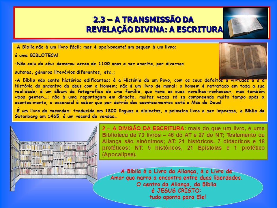 2.3 – A TRANSMISSÃO DA REVELAÇÃO DIVINA: A ESCRITURA