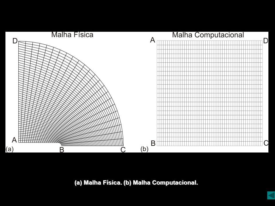 (a) Malha Física. (b) Malha Computacional.