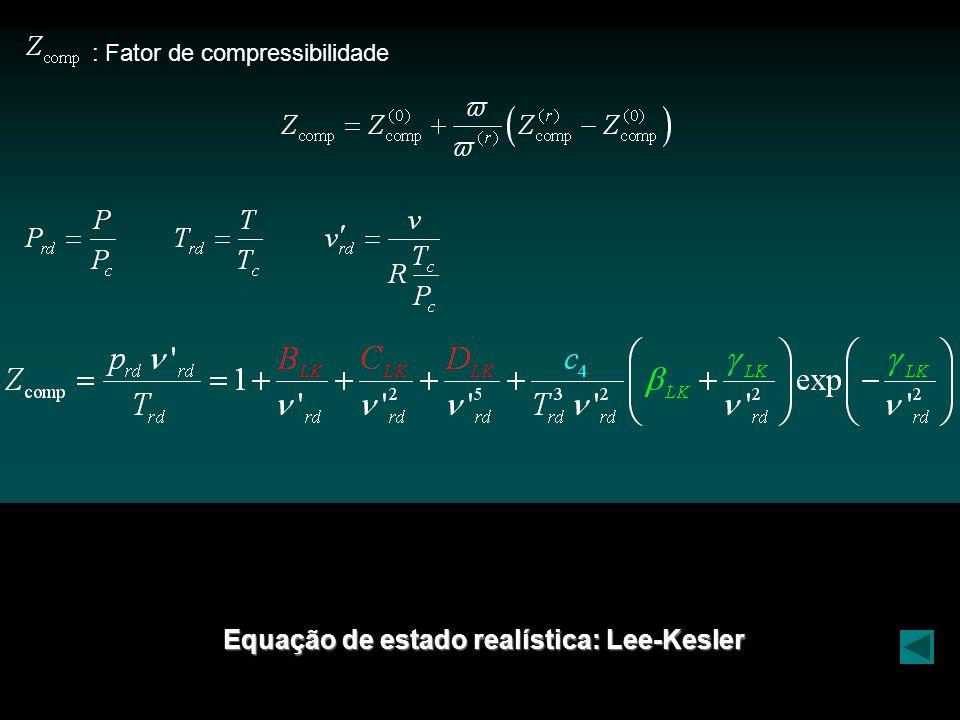 Equação de estado realística: Lee-Kesler