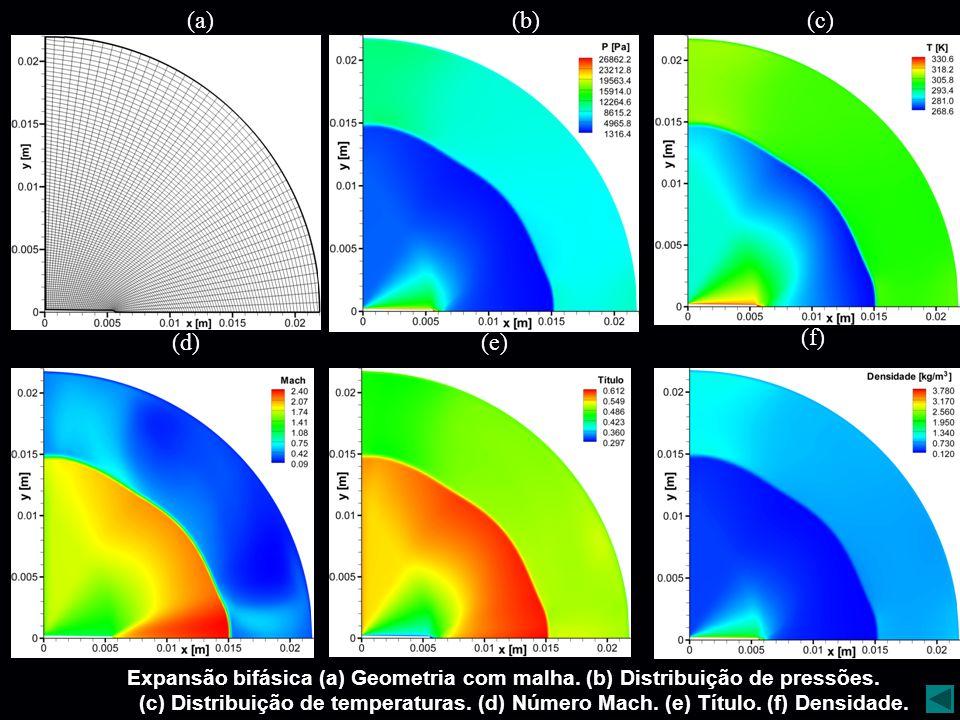 (a) (b) (c) (d) (e) (f) Expansão bifásica (a) Geometria com malha. (b) Distribuição de pressões.
