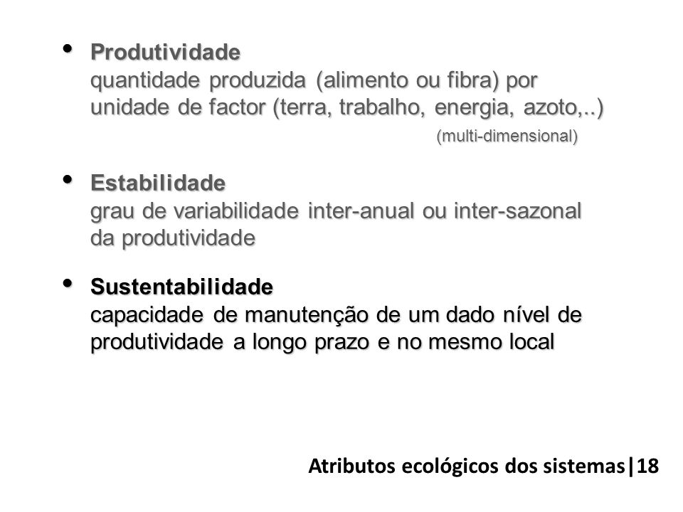 Atributos ecológicos dos sistemas|18