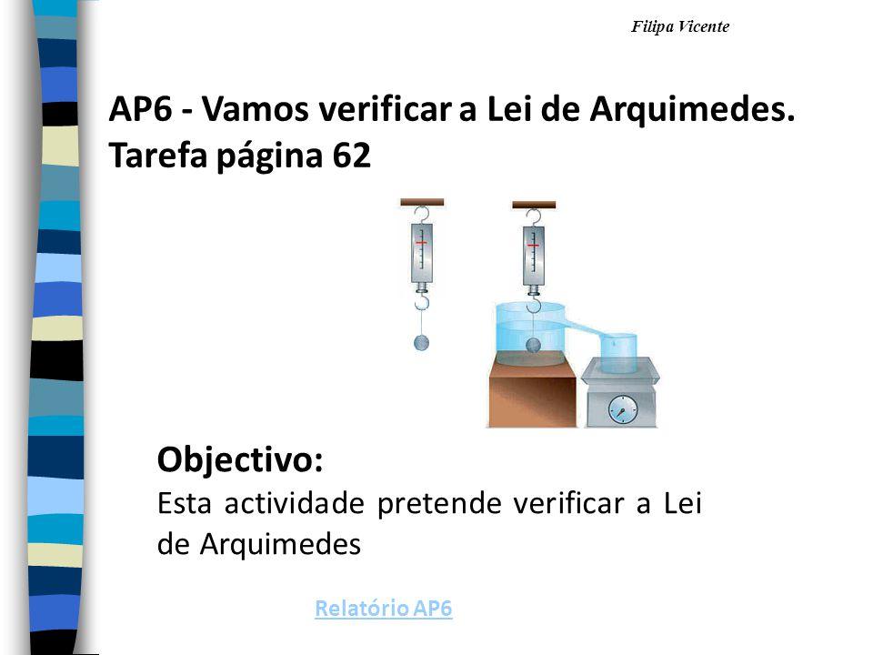 AP6 - Vamos verificar a Lei de Arquimedes. Tarefa página 62
