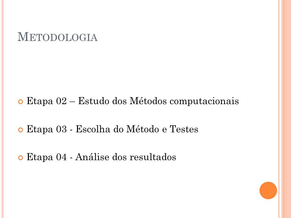 Metodologia Etapa 02 – Estudo dos Métodos computacionais