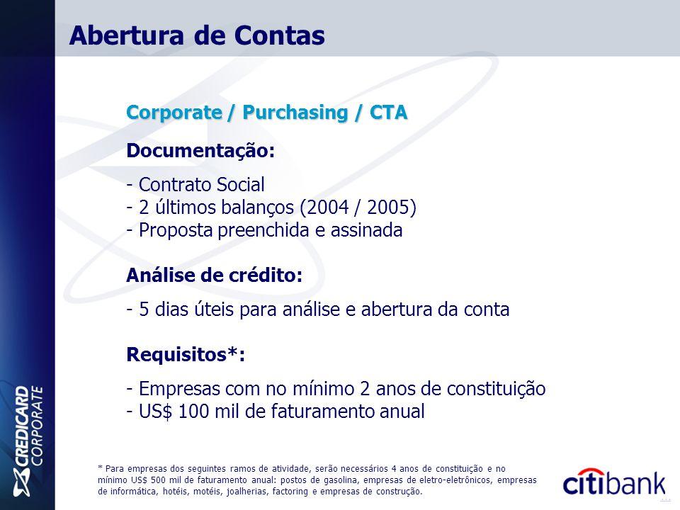 Abertura de Contas Corporate / Purchasing / CTA Documentação: