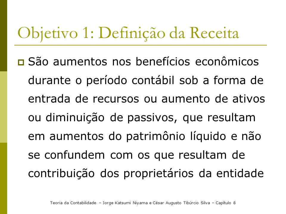 Objetivo 1: Definição da Receita