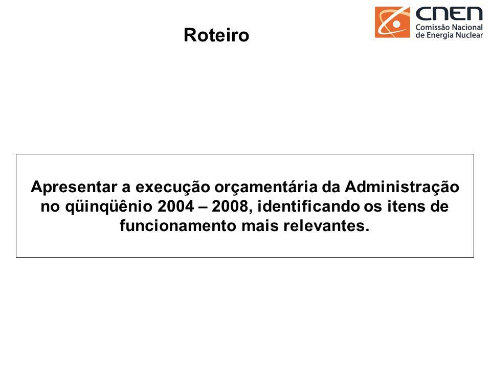 Roteiro Apresentar a execução orçamentária da Administração no qüinqüênio 2004 – 2008, identificando os itens de funcionamento mais relevantes.