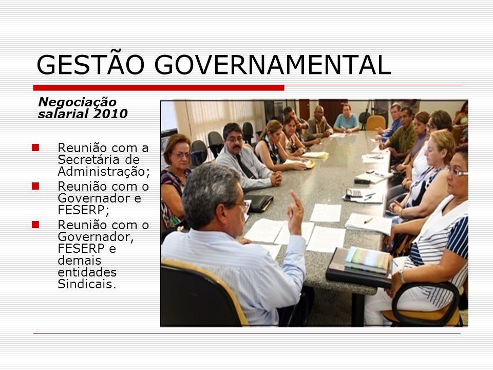 GESTÃO GOVERNAMENTAL Negociação salarial 2010