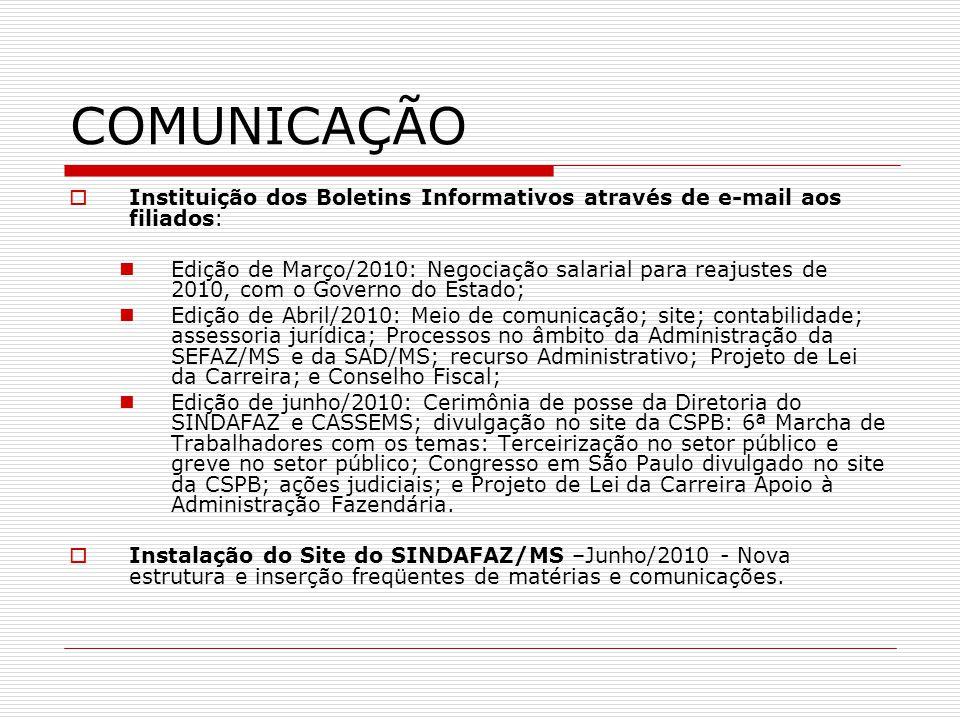 COMUNICAÇÃO Instituição dos Boletins Informativos através de e-mail aos filiados: