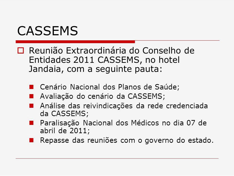 CASSEMS Reunião Extraordinária do Conselho de Entidades 2011 CASSEMS, no hotel Jandaia, com a seguinte pauta: