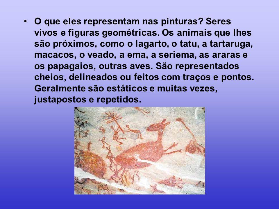 O que eles representam nas pinturas. Seres vivos e figuras geométricas