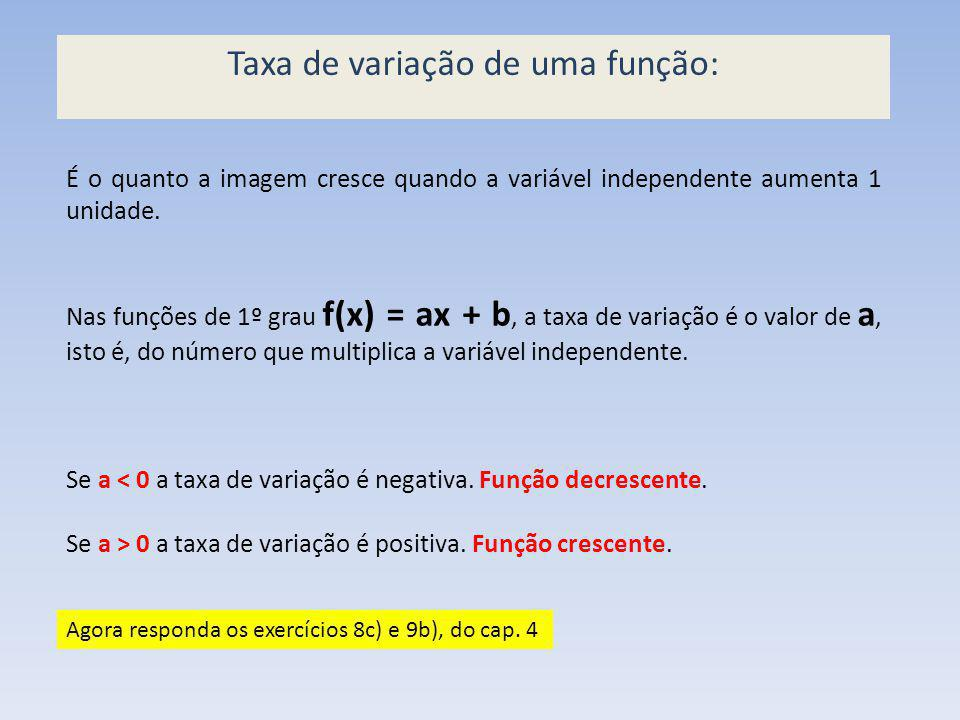 Taxa de variação de uma função: