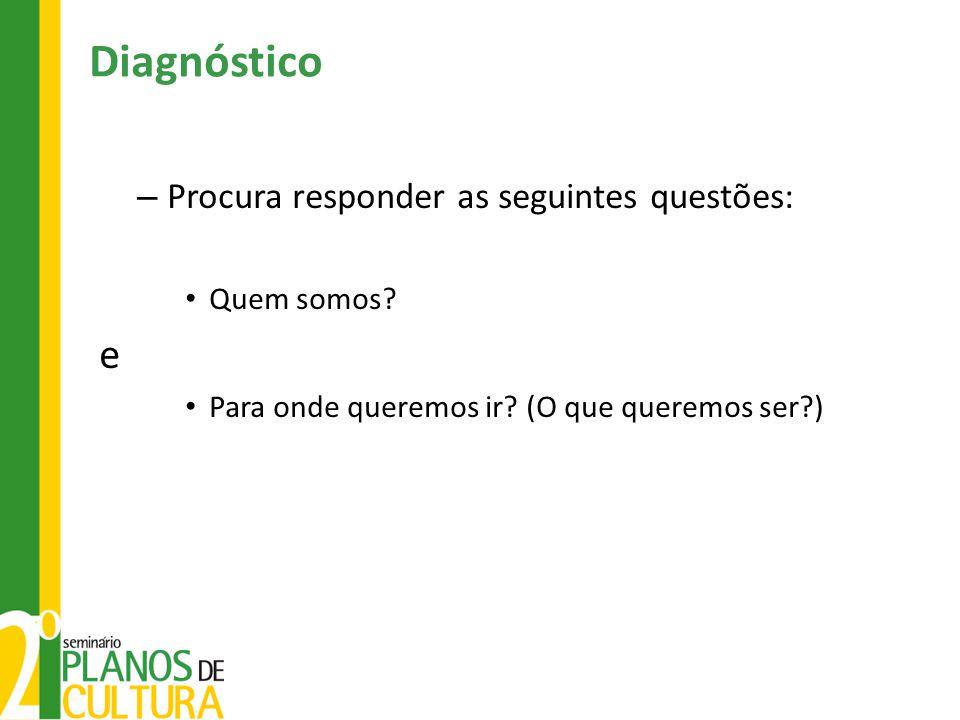 Diagnóstico e Procura responder as seguintes questões: Quem somos